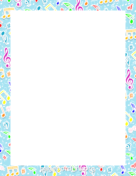 Music Notes Border: Clip Art, Page Border, and Vector Graphics.