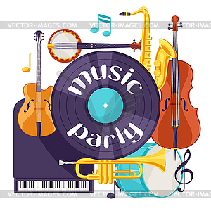 Jazz music party retro background with musical.