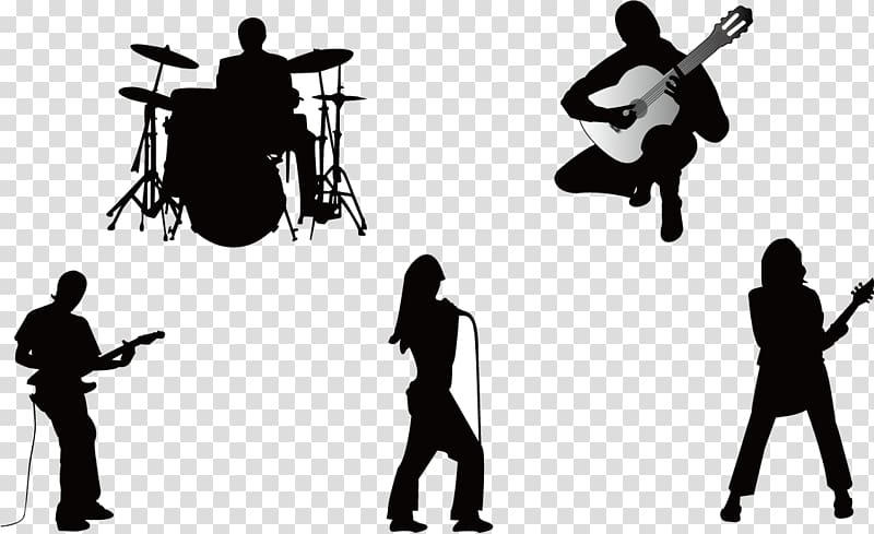 Five silhouette of people illustration, Musical ensemble.