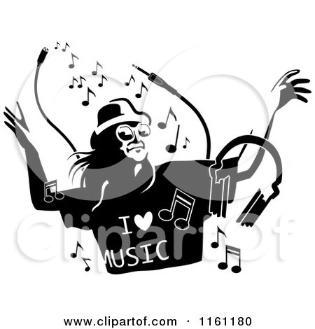 Clipart of Black and White People Dancing over a Grunge Smear.