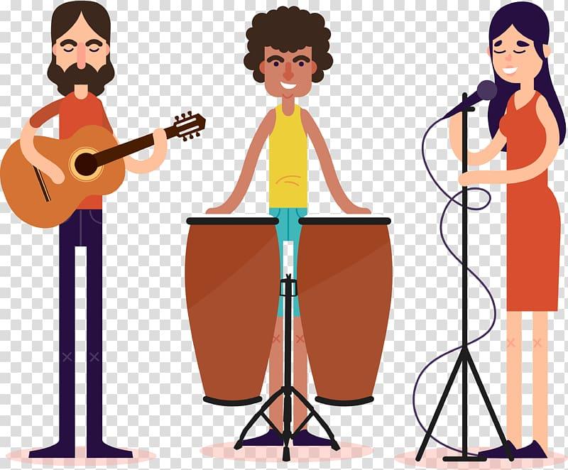 Performance Music Illustration, Cartoon 3 music performers.