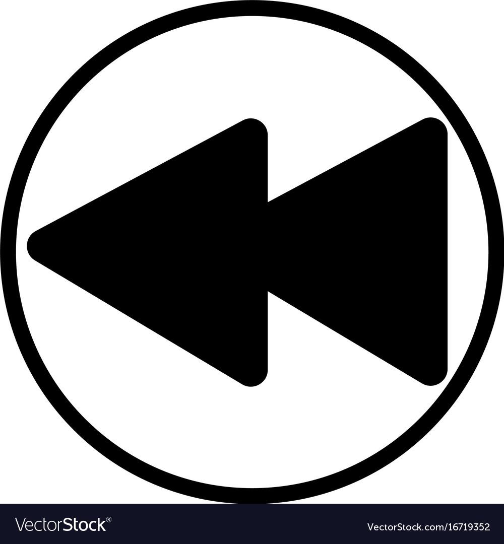 Rewind music player button linear icon.