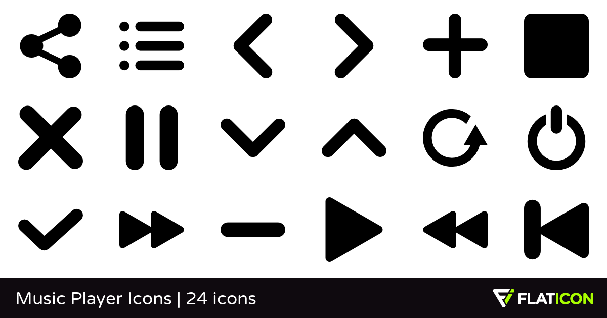 Music Player Icons 24 free icons (SVG, EPS, PSD, PNG files).