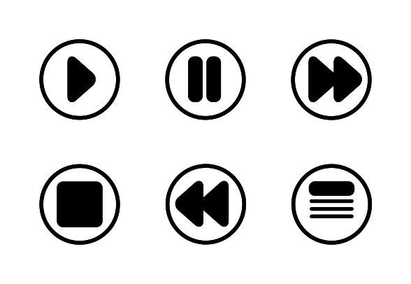 'Music player controls rounded circle dark' by Louie Dawson.