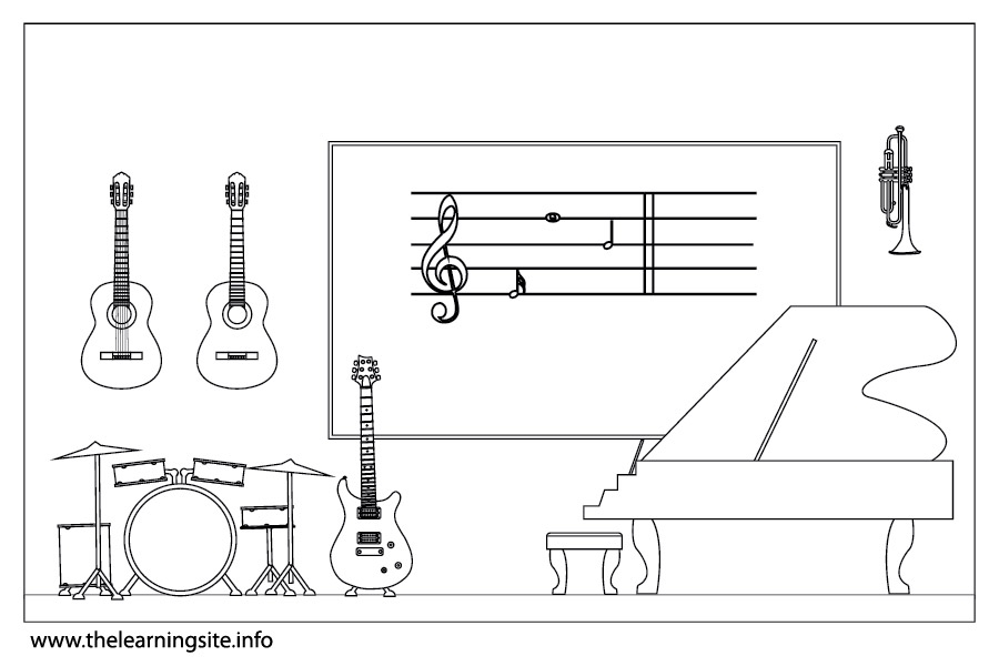 School music room clipart.
