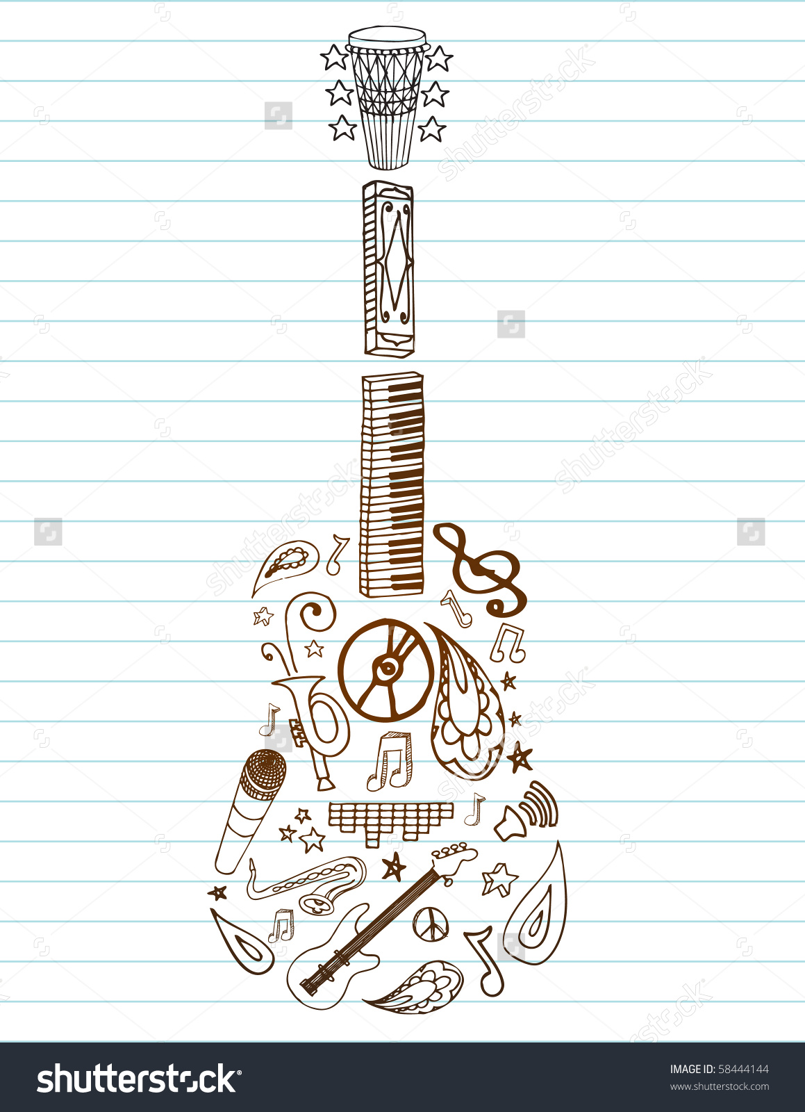 Selection Hand Drawn Music Doodles Make Stock Vector 58444144.