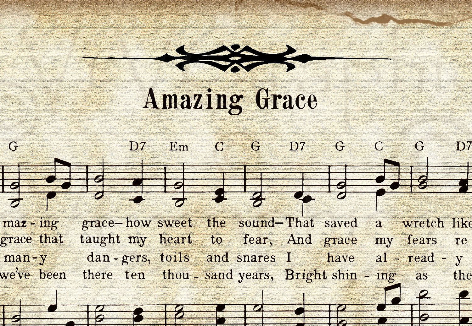 Amazing Grace and Roses Christian Sheet Music Hymn by.