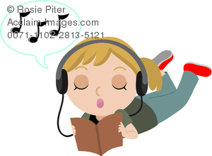 Clipart Illustration of Teen Girl Listening To Music and Singing.
