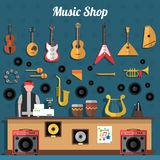 Music Shop Vector Illustration Stock Vector.