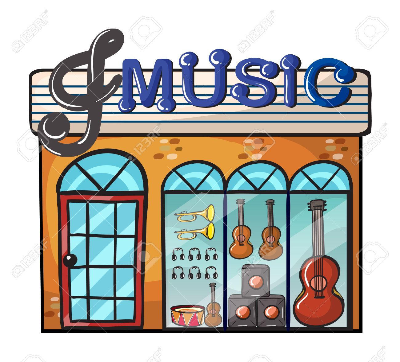 Illustration Of A Music Store On A White Background Royalty Free.