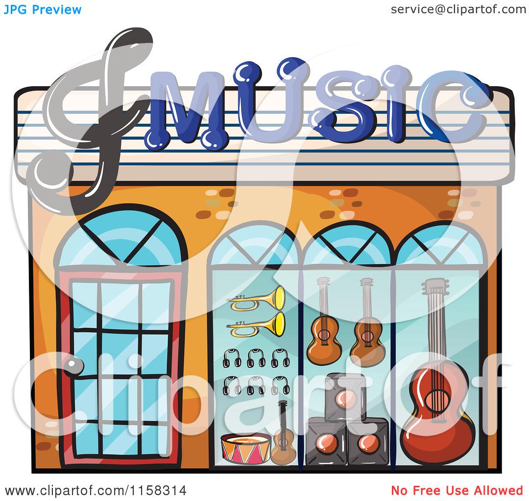 Clipart of a Music Shop Building Facade.