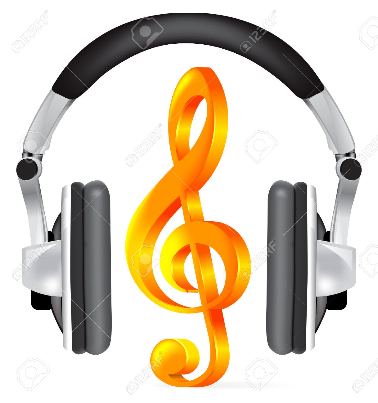 Realistic Headphones With Music Note On White Royalty Free.