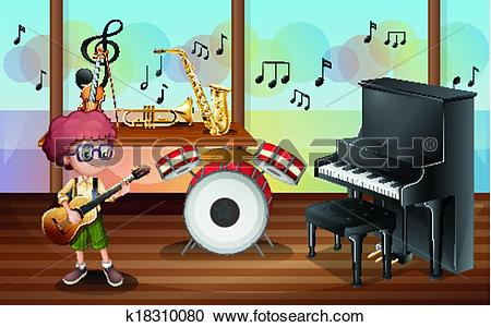 Clipart of A young guitarist inside the music studio k18310080.
