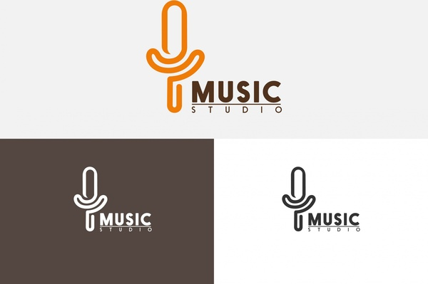 Music studio logo sets microphone symbol and text Free.