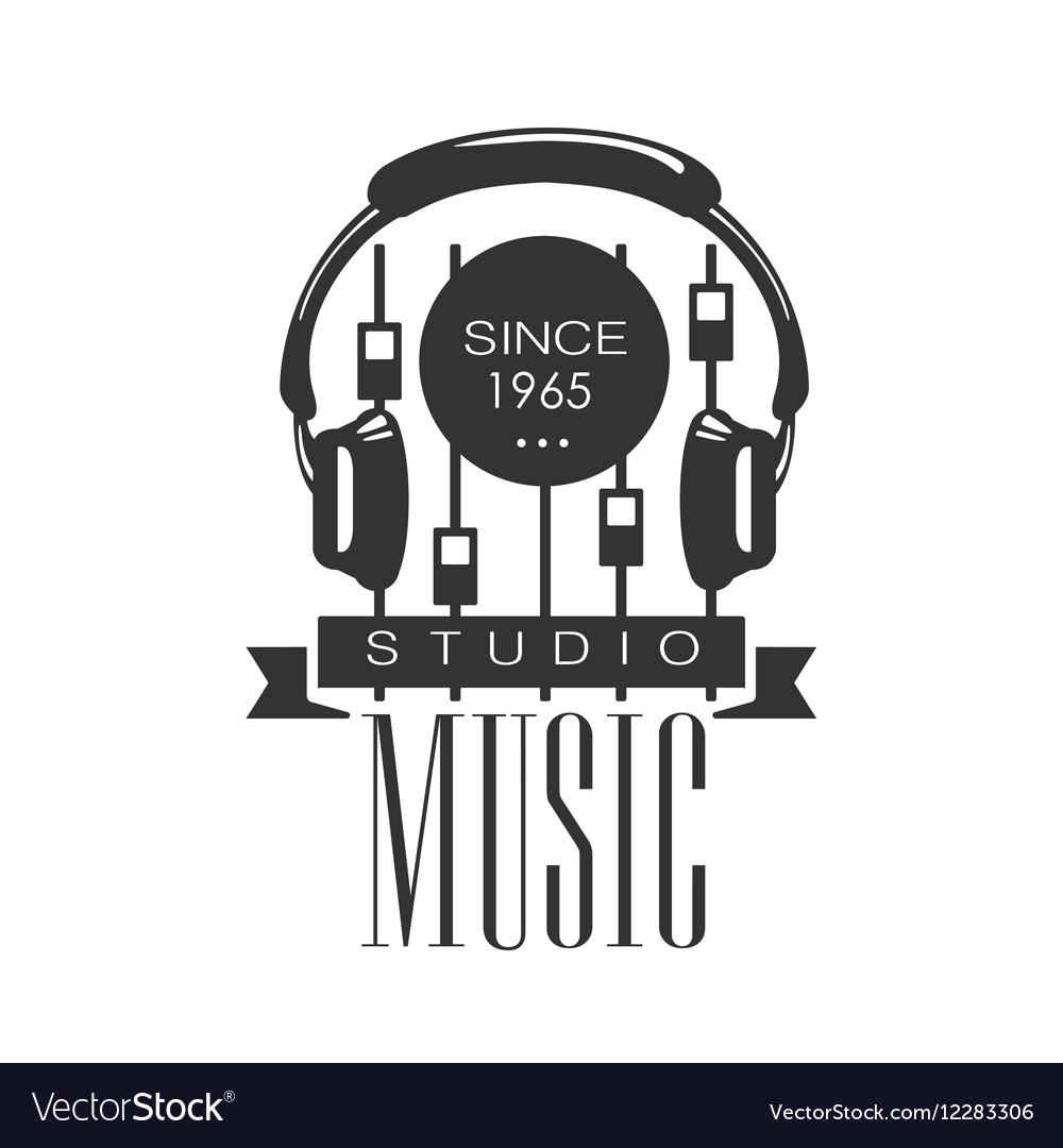 Music Record Studio Black And White Logo Template.