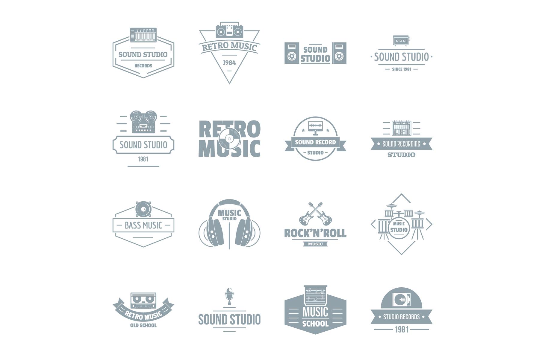 Music studio logo icons set, simple style.