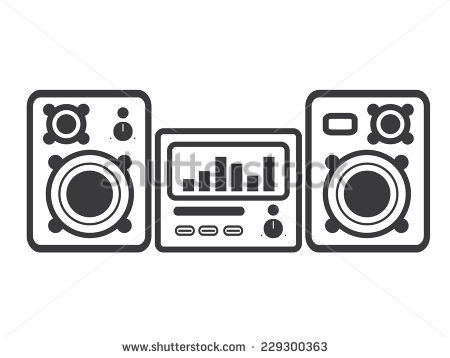 Stereo System With Two Speakers Stock Vector Illustration.