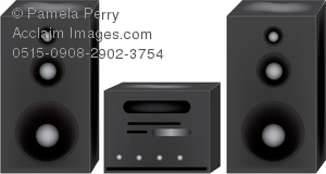 Clip Art Illustration of a Home Stereo System With Speakers.