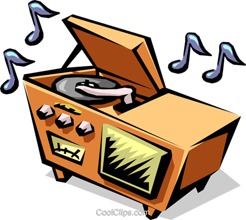 50's style home stereo system Royalty Free Vector Clip Art.