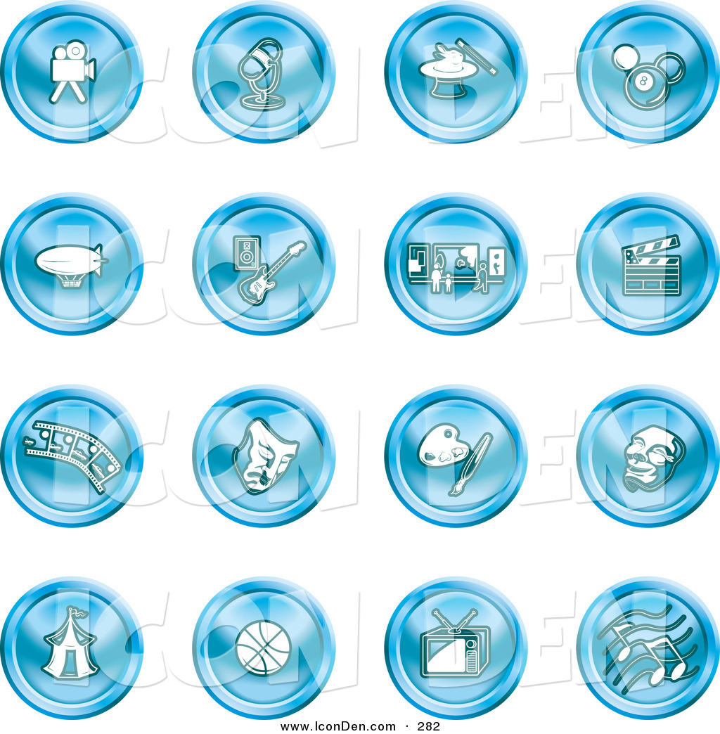 Clip Art of a Collection of 16 Blue Entertainment Icons of a Video.