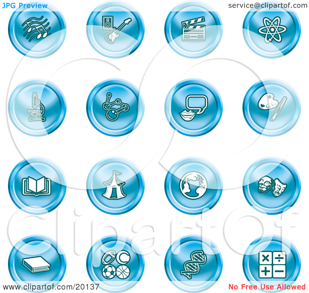 Clipart Illustration of a Collection Of Blue Icons Of Music Notes.