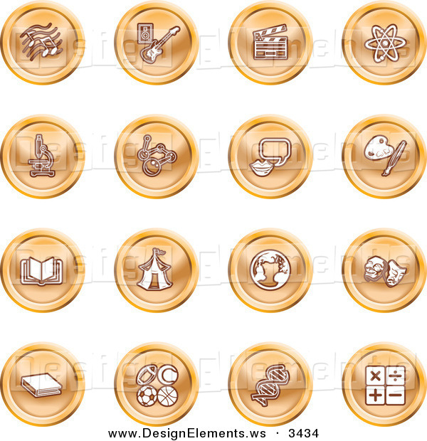 Design Element Clipart of a Set of 16 Orange Icons of Music Notes.