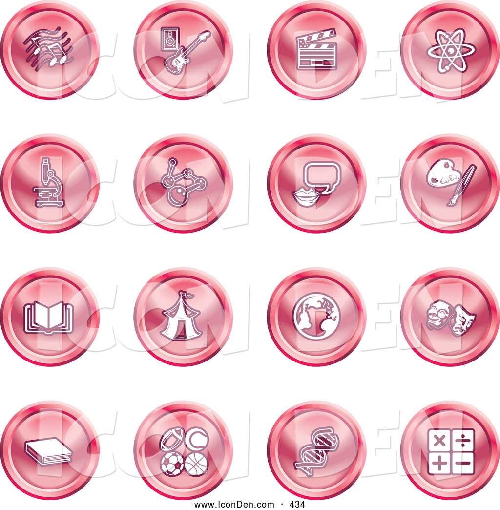 Clip Art of a Collection of Red Coin Shaped Icons of Music Notes.