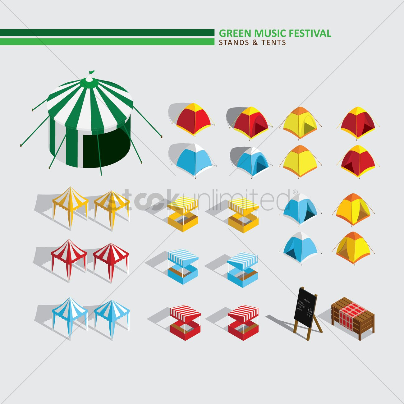 Green music festival stands and tents Vector Image.