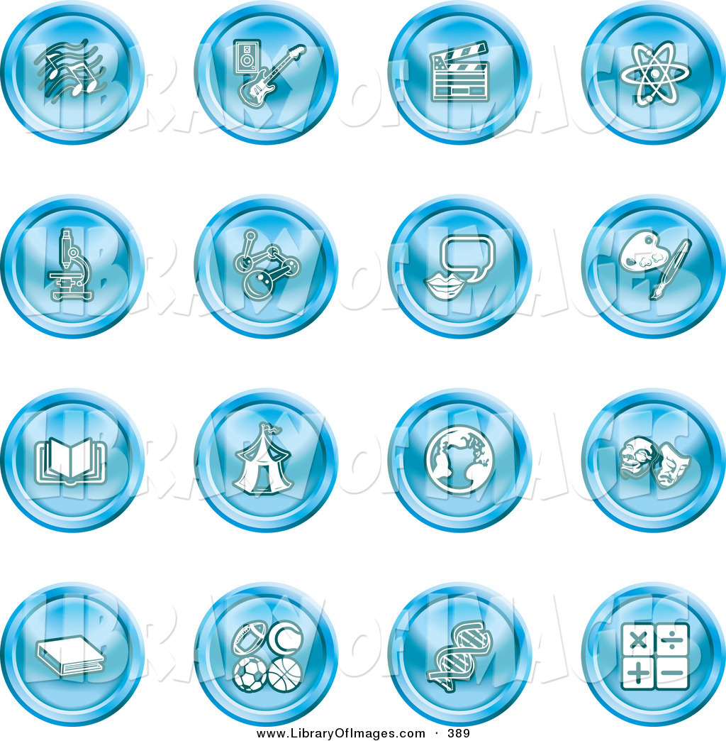Clip Art of a Collection of Sixteen Blue Icons of Music Notes.