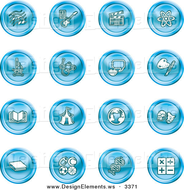 Design Element Clipart of a Set of 16 Blue Icons of Music Notes.