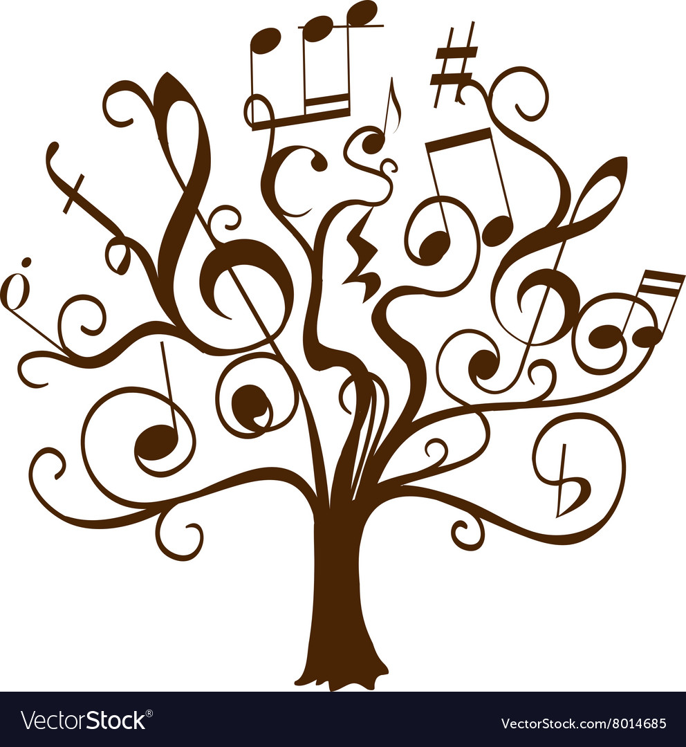 Tree with curly twigs with musical notes.