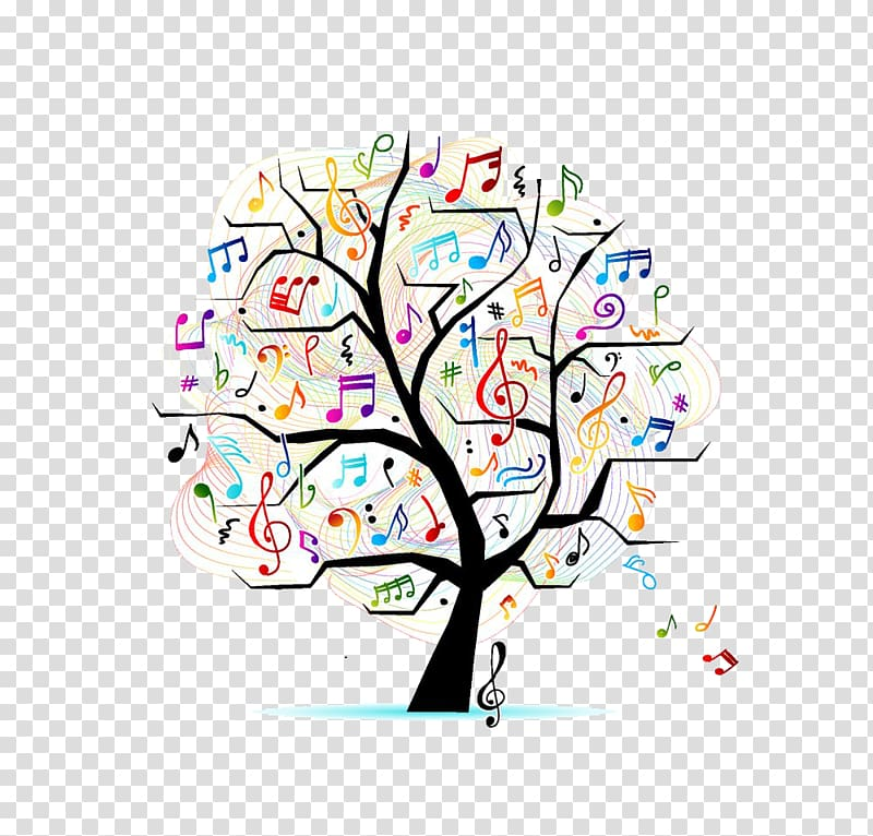 Musical note Tree Illustration, Music Book transparent.
