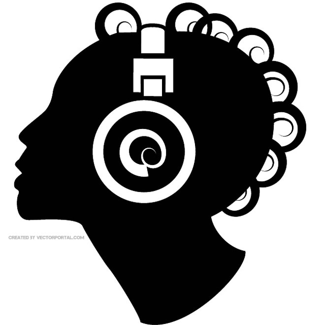 LISTENING TO THE MUSIC VECTOR ILLUSTRATION.