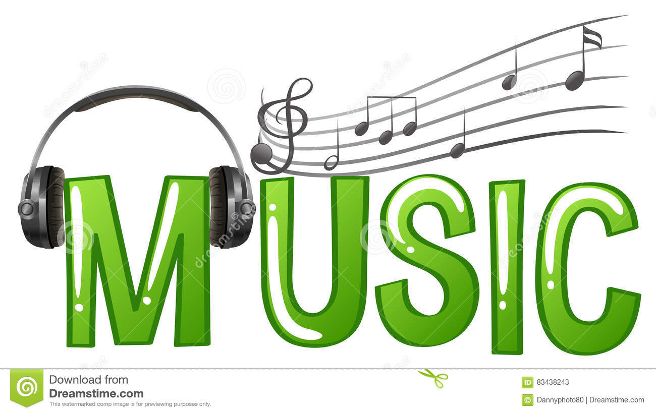 Font Design For Word Music With Headphone And Music Notes Stock.