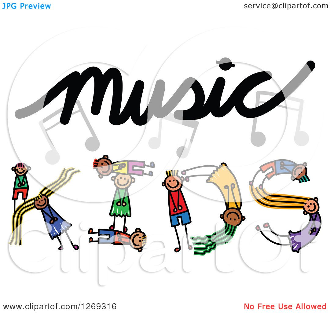 Clipart of Alphabet Stick Children Forming a Word in Music Kids.