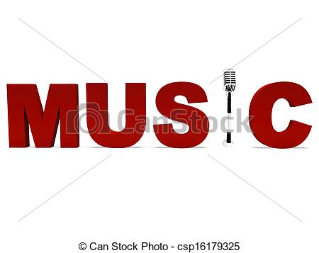 Clip Art of Music Word And Mic Shows Talent Show Or Concert.