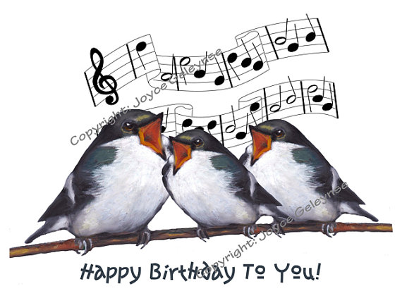 Printable Clip Art, Three Birds Singing Happy Birthday.
