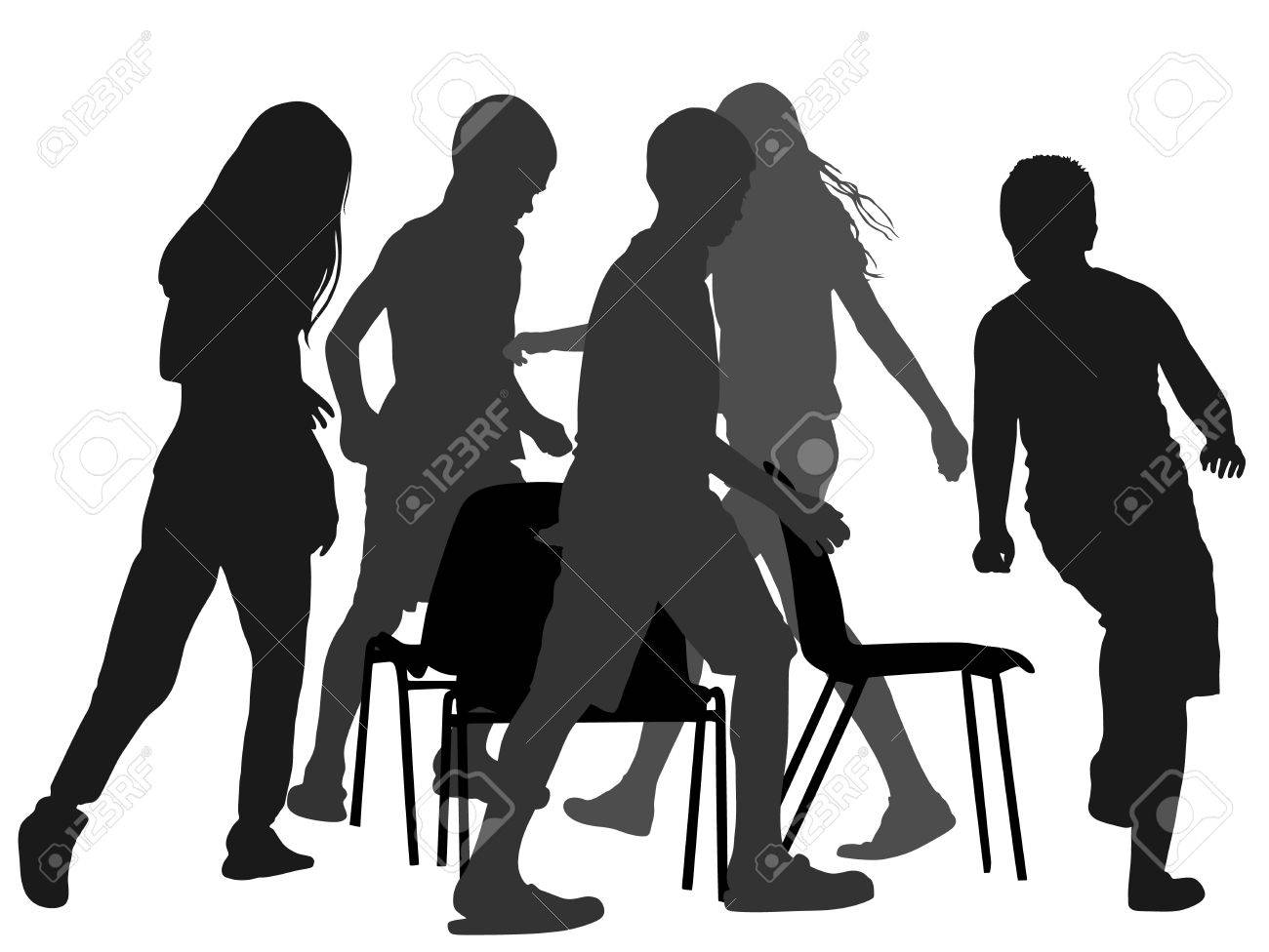 Children playing music chair game, vector silhouette illustration.