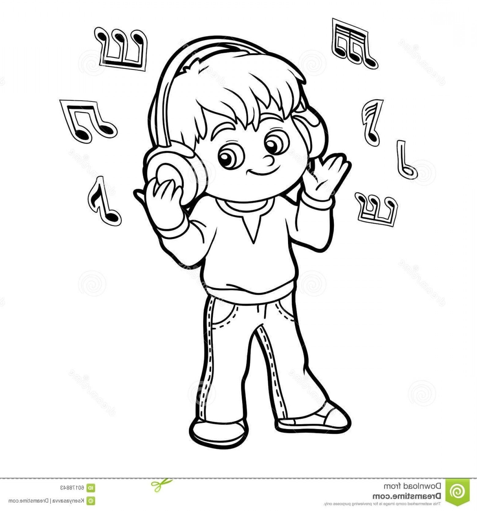Listening To Music Clipart Black And White.
