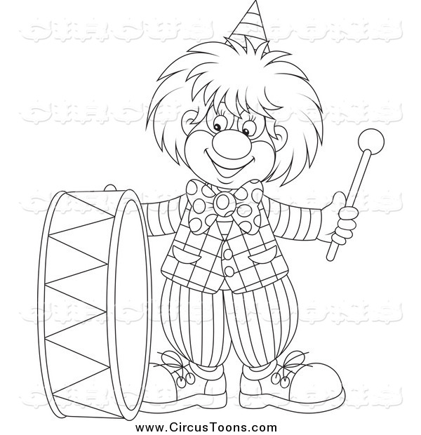 Circus Clipart of a Black and White Musical Clown Playing a Drum.