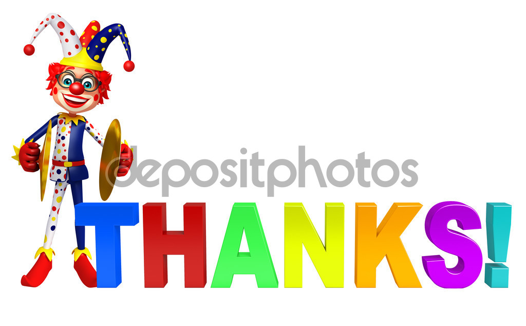 Clown with Musical instrument & Thanks sign — Stock Photo.