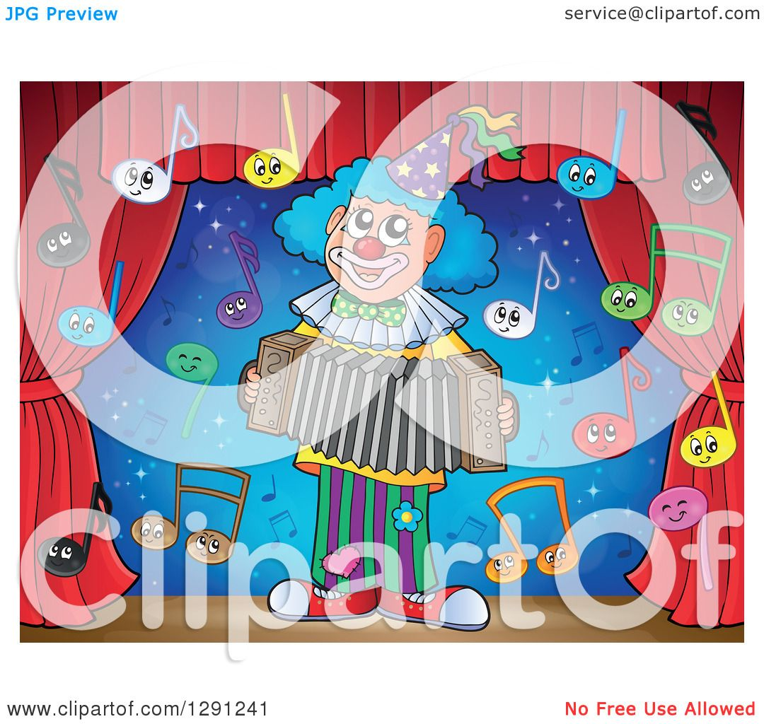Clipart of a Stage with Happy Music Note Characters and a Clown.