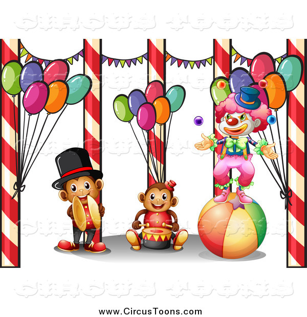 Circus Clipart of a Clown with Musical Monkeys and Balloons by.