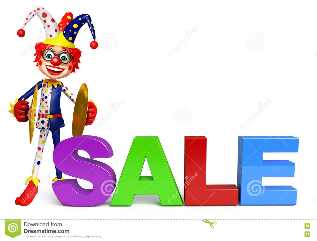 Clown With Musical Instrument & Sale Sign Stock Illustration.