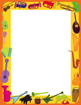 This printable musical instrument border is decorated with.