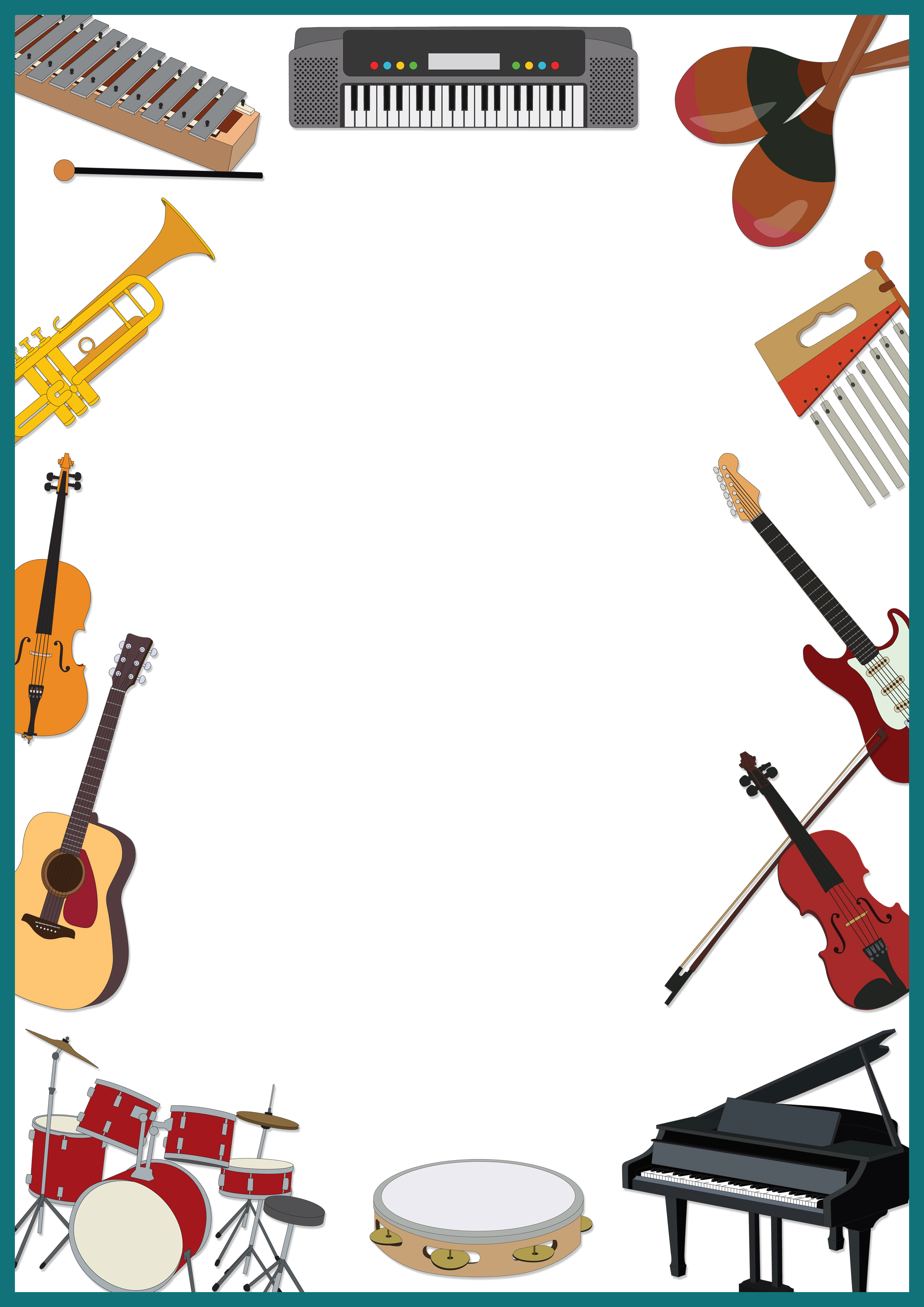 Musical Instruments Border Clipart.