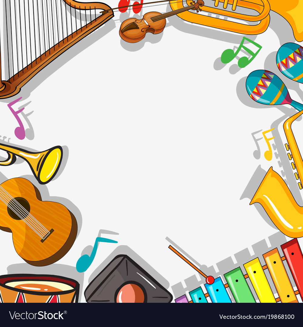 Border template with musical instruments.