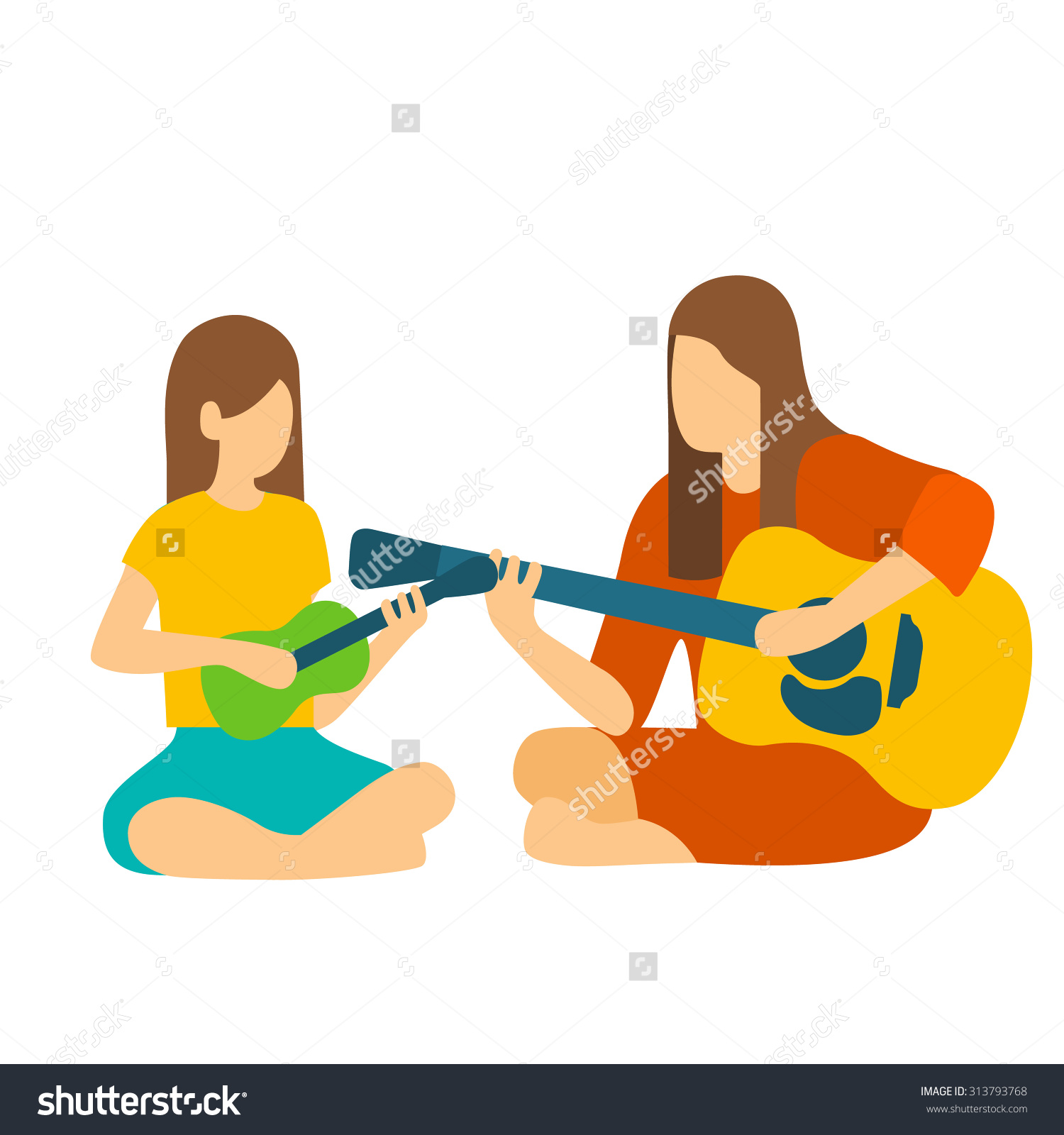 Girl Learning To Her Teacher Play The Guitar. Stock Vector.