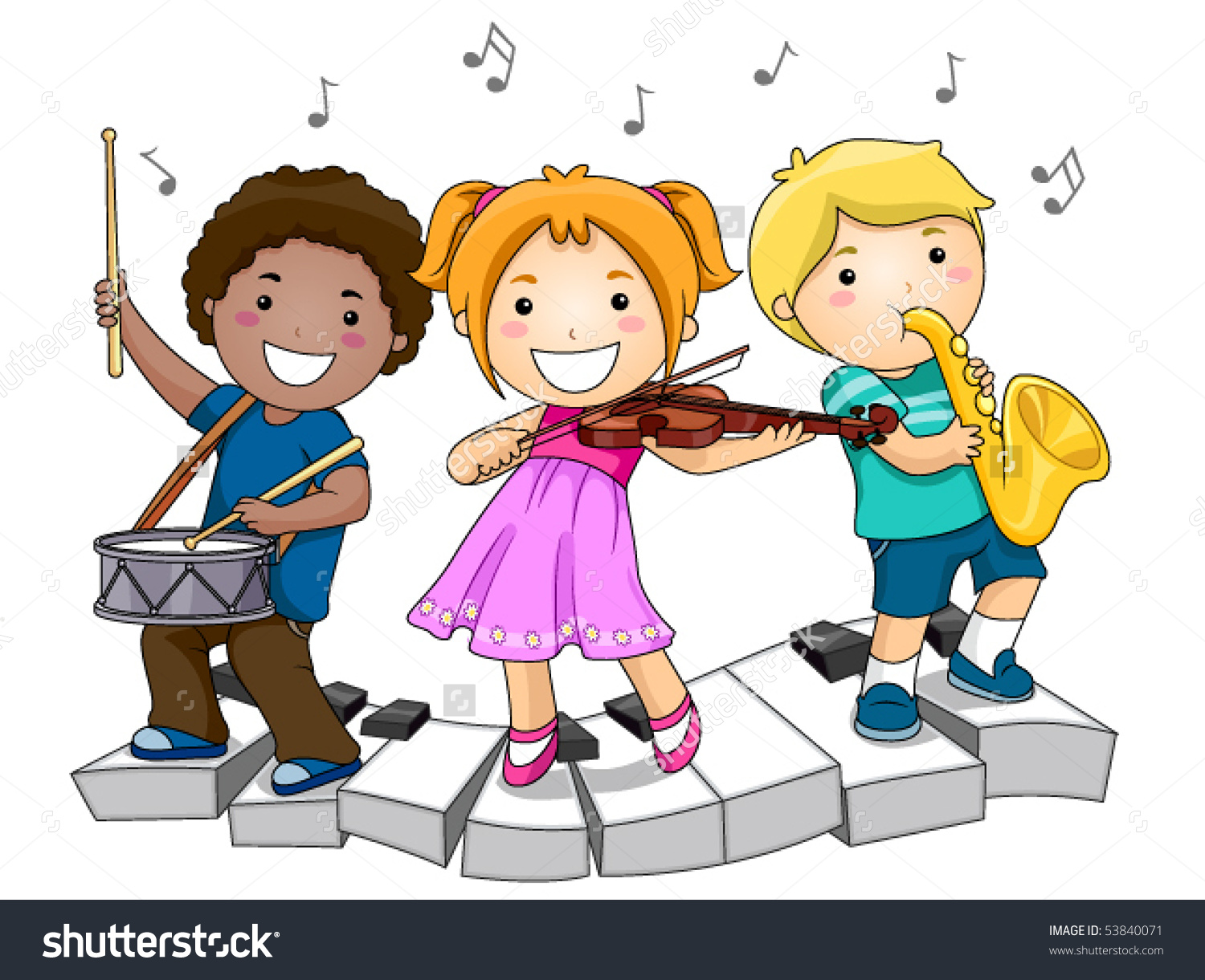 Children Playing Musical Instruments Vector Stock Vector 53840071.