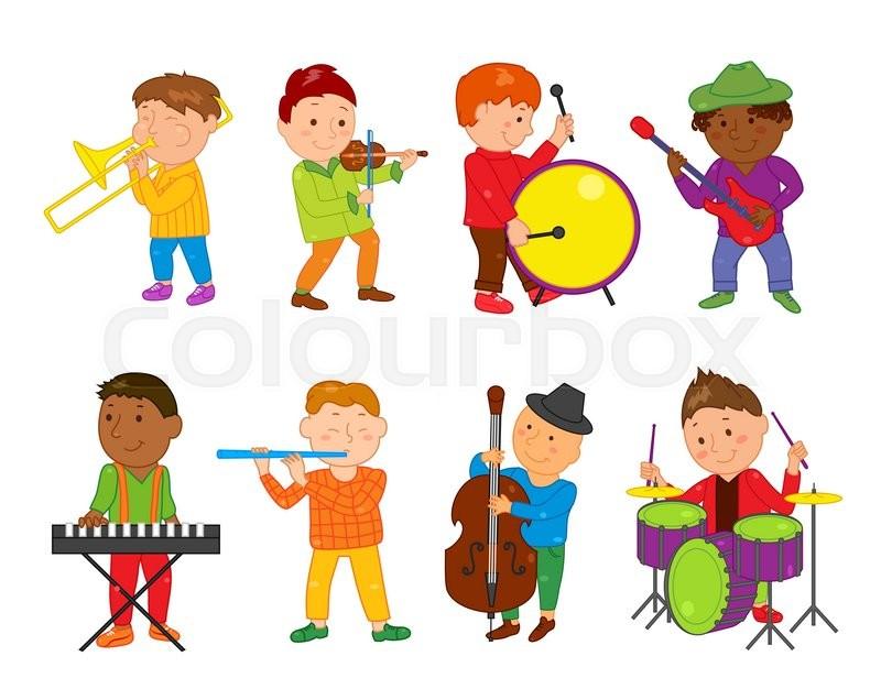 Cartoon musician kids. Vector illustration for children music.